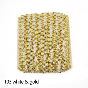 5m/lot Lace Trim Fabric Sewing Lace Gold Silver Centipede Braided Lace Ribbon Curve Lace DIY Clothes Accessories Wedding Crafts