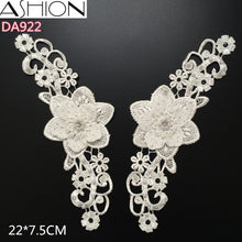 ASHION 4 style Rhinestones 3D lace Appliques White Wedding Lace Flowers Embroidered Dress Lace Motifs Venise Lace