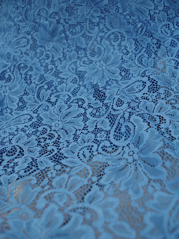 light blue lace fabric, alencon lace fabric, embroidered lace hollowed out lace fabric with retro floral, sale