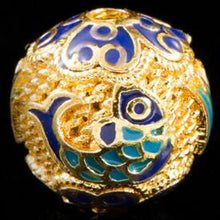 10mm Metal Bead Big Hole Cloisonne Beads Fish Pattern 5pcs Beading Colors Beads For Jewelry DIY For Necklaces