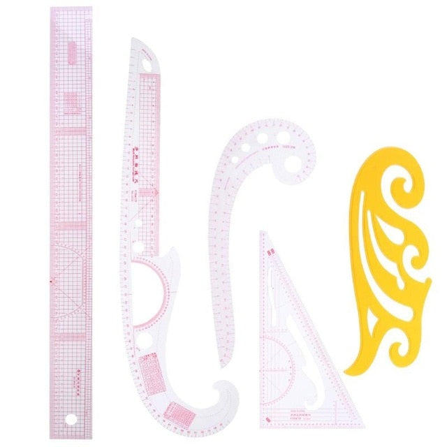 5/ 6pcs  Multi-function Cutting Ruler Clothing Sample Cutting Metric Yardstick Rulers French Curve Cut Cutting Sewing Tools