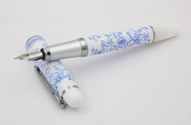 Hot New Chinese Blue and White Porcelain Pattern Medium Nib Fountain Pen