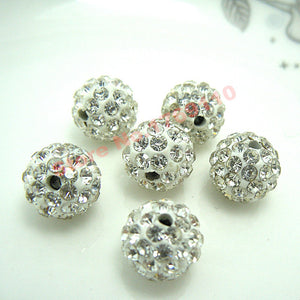 100pcs 10MM Austria Beads Crystal Disco Ball Beads Shambhala Spacer Beads,Austria bracelet Crystal Clay Beads 27 Color