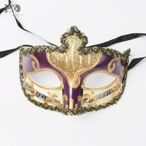 H&D Evening Prom Venetian Masquerade Masks Costumes Party Accessory (gold mix purple)