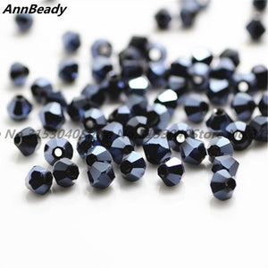 100pcs Peacock blue Color 4mm Bicone Crystal Beads Glass Beads Loose Spacer Beads DIY Jewelry Making Austria Crystal Beads