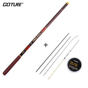 Goture Rod Combo Telescopic Fishing Rod 3.0M-7.2M Carbon Fiber 2/8-3/7 Power Hand Pole+Fishing Float Rig&Spare Top-three Tips