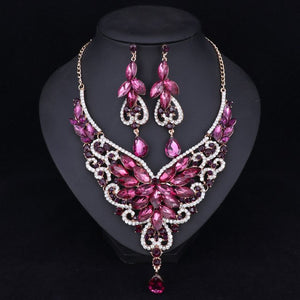 Fashion Rhinestone Wedding Jewelry Sets For Brides Prom Party Costume Accessories Bridal Necklace Earring Sets for Women