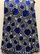 ROYAL BLUE African Lace Fabric 2019 High Quality Lace, Pearls Embroidery Tulle Lace Fabric, African Lace stones 5 Yards NLL3340