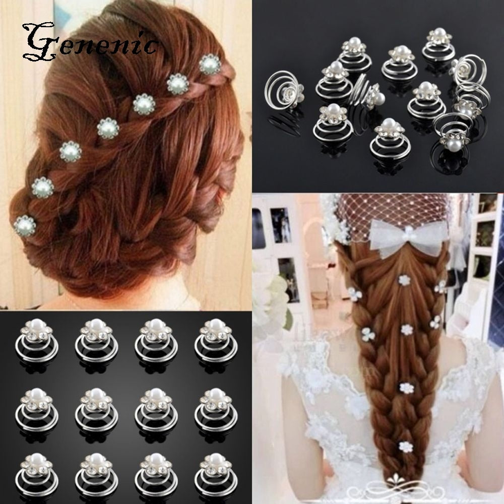 12PCs Bright Crystal Flower Pearl Spiral Hair Clips Twists Hairpins for Wedding Prom Rhinestone Headpiece Hair Accessories