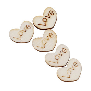 100pcs/ Wooden Love Heart Shapes Laser Blank Embellishments Craft Card Decor Scrapbooking Craft Cards Wood Craft Decoration