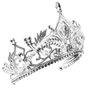 European Vintage Silver Wedding Crown Alloy Bridal Tiara Baroque Queen King Crown Tiaras Crowns