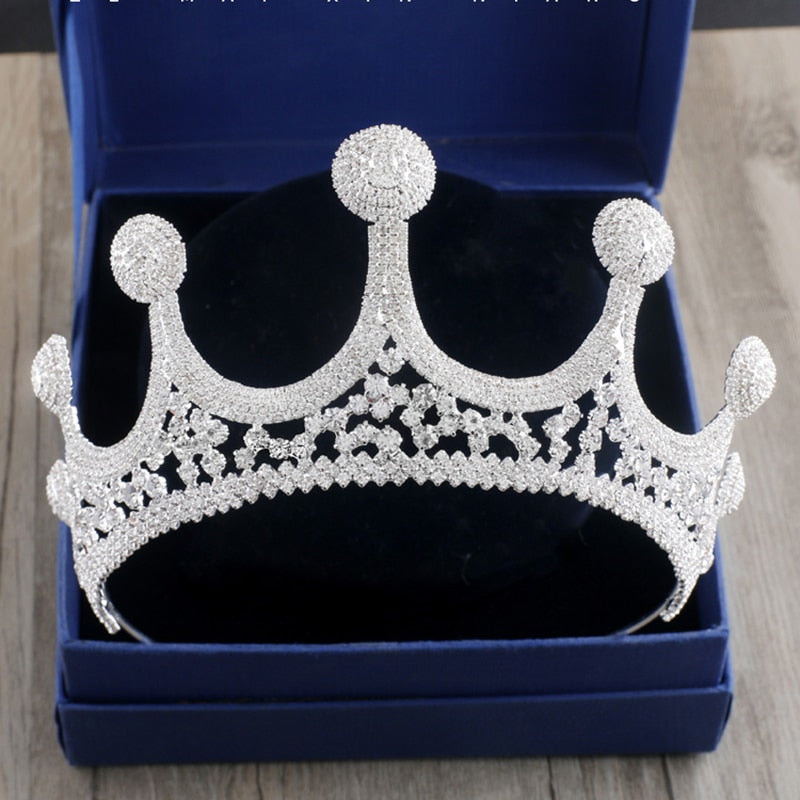 HOT European Royal Bride Crystal Crown Tiara Luxurious Wedding Hair Decorations Silver Rhinestone Big Crowns Bridal Diadem ML629