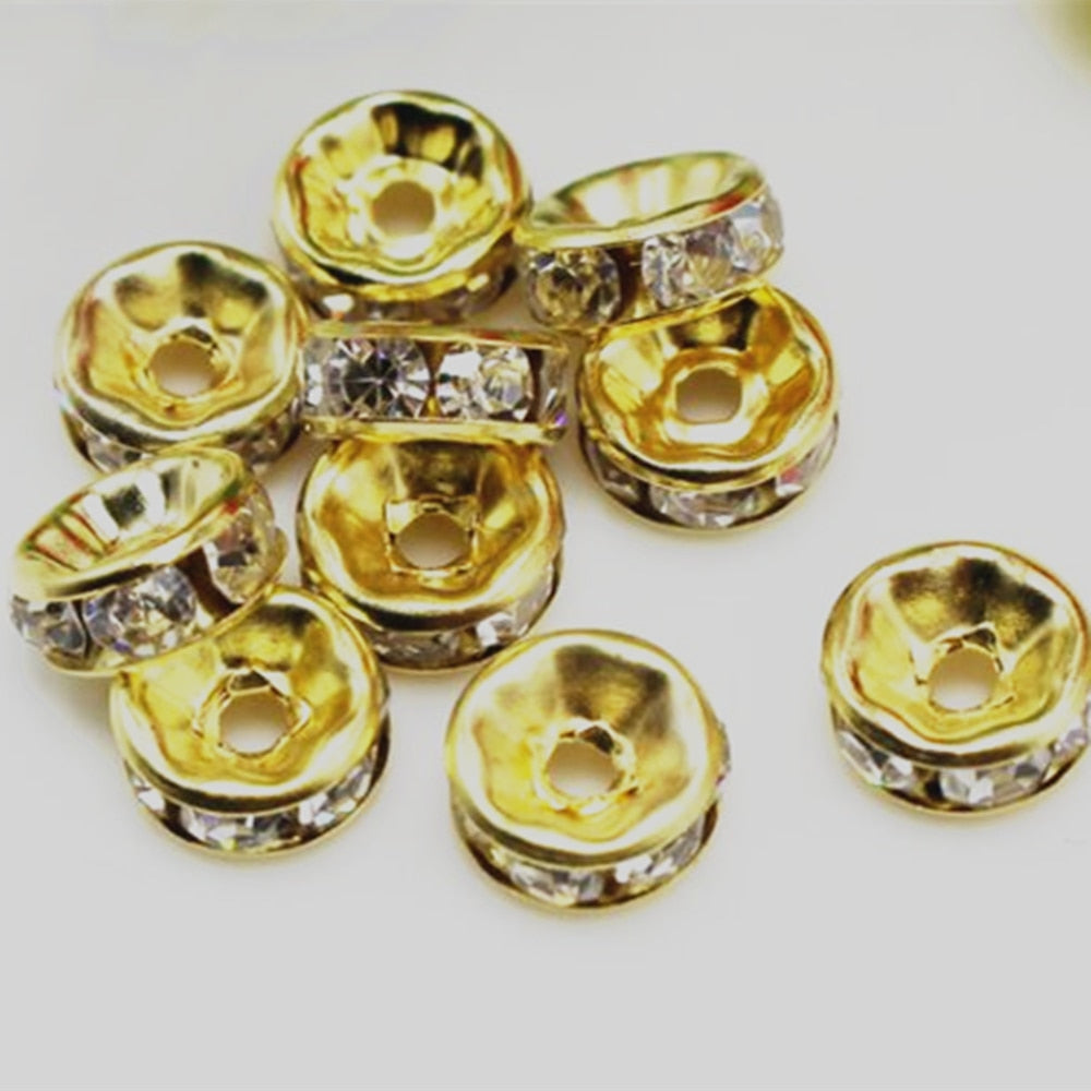 Rhinestone Beads Metal Spacer Beads Crystal Beads  DIY Beads Bracelet making 6mm/8mm/10mm  10 pcs