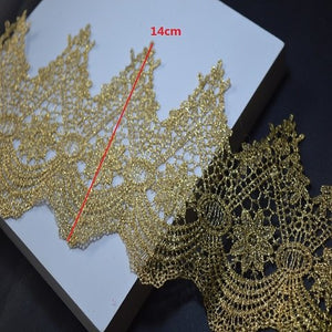 somelace 1 yard golden lace fabric diy lace   Wedding Dress Beaded Lace Applique Gold Thread Embroidery Lace Accessories Trim 03