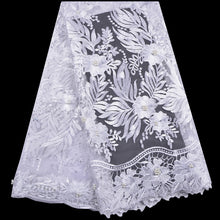 Embroidery Tulle Lace Stone Beaded Lace Fabric High Quality Lace White Color Nigerian Lace Fabrics For Wedding