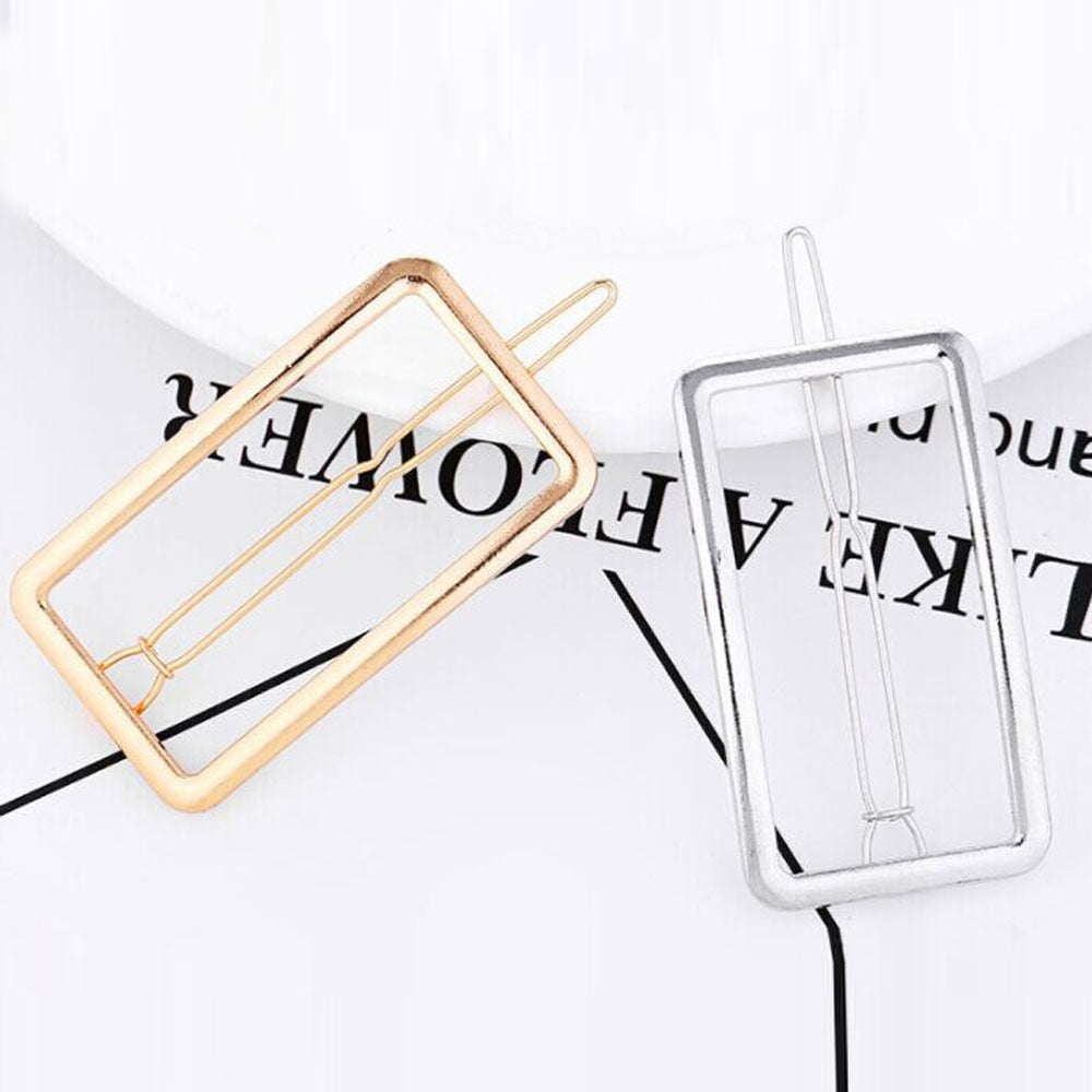 Wholesale 1 PC New Fashion Women Girls Hairpins Girls Geometry Rectangle Hair Clip Delicate Hair Pin Hair Decorations