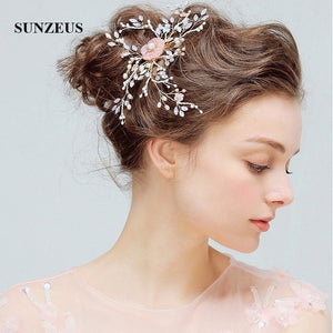 Pearls Flower Sharp Headband for Women Crystals Shiny Wedding Accessories for Hair Girls Hair Decoration Hair Clips SHA36