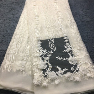 African Lace Fabric 2019 High Quality Lace 3D Flower Lace Fabric Beautiful Applique Beads Lace For Nigerian Wedding Dress M2585