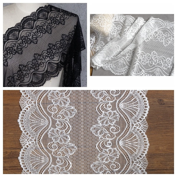 4yards/lot Spandex elastic lingerie lace flower stretch applique lace for underwear bra black white DIY lace trim LACE wide 22CM