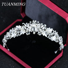 Fashion Silver Bride Crown Wedding Hair Accessories Handmade Pearl Tiaras Crowns Crystal Bridal Crown For Women