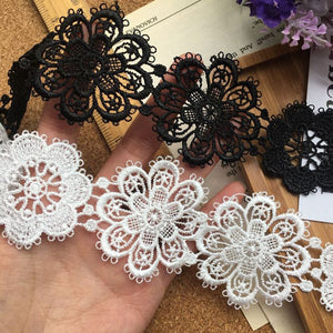 14yards/lot 5cm White Black Water soluble lace ribbon Embroidered Lace trims Patchwork lace material Sewing Lace supplier LAV532