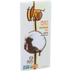 Theo Chocolate Organic Chocolate Bar - Classic - Coconut - 3 Oz Bars - Case Of 12