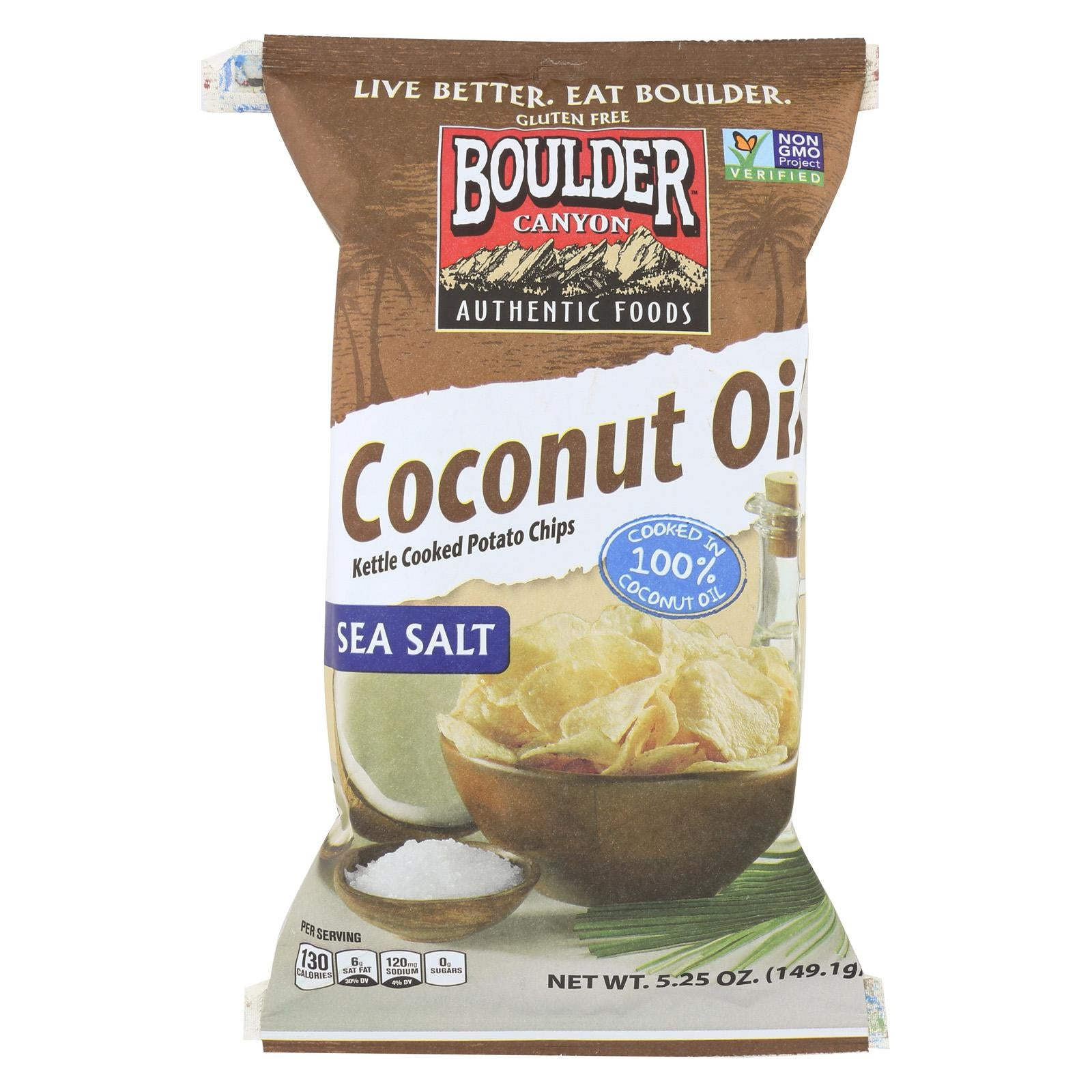 Boulder Canyon Natural Foods Kettle Chips - Coconut Oil - Case Of 12 - 5.25 Oz.