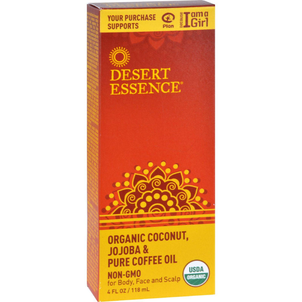 Desert Essence Coconut Jojoba And Coffee Oil - Organic - 4 Oz