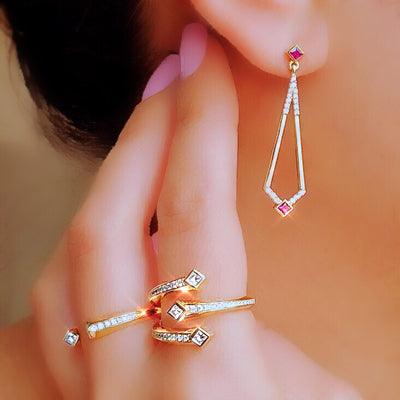Maharlika 'Tulis' Drop Earrings - Rose Gold and Ruby