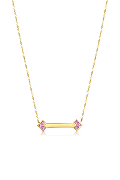 Palaso ID Necklace - Yellow Gold and Pink Sapphire