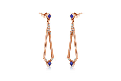 Maharlika 'Tulis' Drop Earrings - Rose Gold and Sapphire