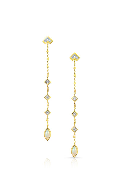 MALIIT Linear Opal and Diamond Enhancers - Yellow Gold