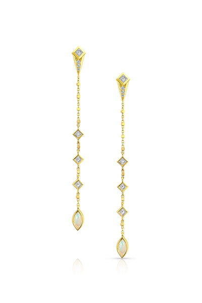 MALIIT Linear Opal and Diamond Enhancers - White Gold