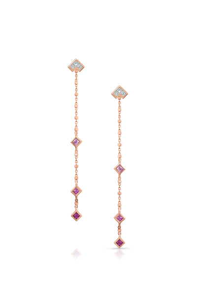Maliit 3 Stone 'Shades of Pink' Enhancers - Yellow Gold