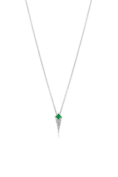 Maharlika Spike Necklace - White Gold and Emerald