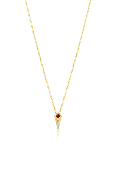 Maharlika Spike Necklace - Yellow Gold and Ruby
