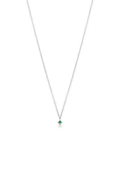 Maliit Princess Necklace - White Gold and Emerald
