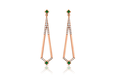 Maharlika 'Tulis' Large Drop Earrings - Rose Gold and Emerald