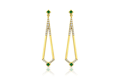 Maharlika 'Tulis' Large Drop Earrings - Yellow Gold and Emerald