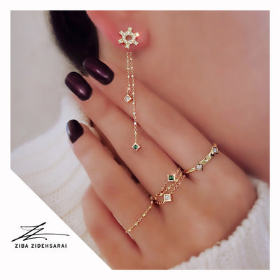 Maliit Princess Chain Ring - Yellow Gold and Ruby
