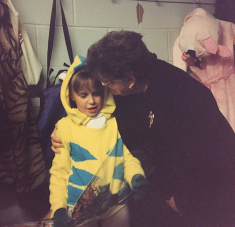 Rachel with her grandmother at a skating event