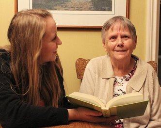 reading with dementia grandma