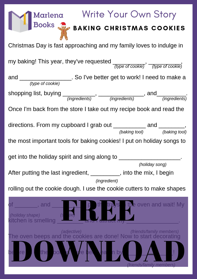 Baking Christmas Cookies Mad Lib Free Download!