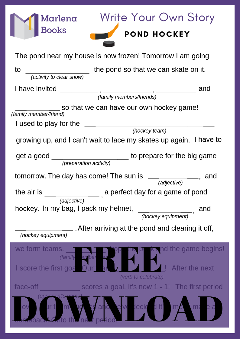 A Game of Pond Hockey Mad Lib Free Download!