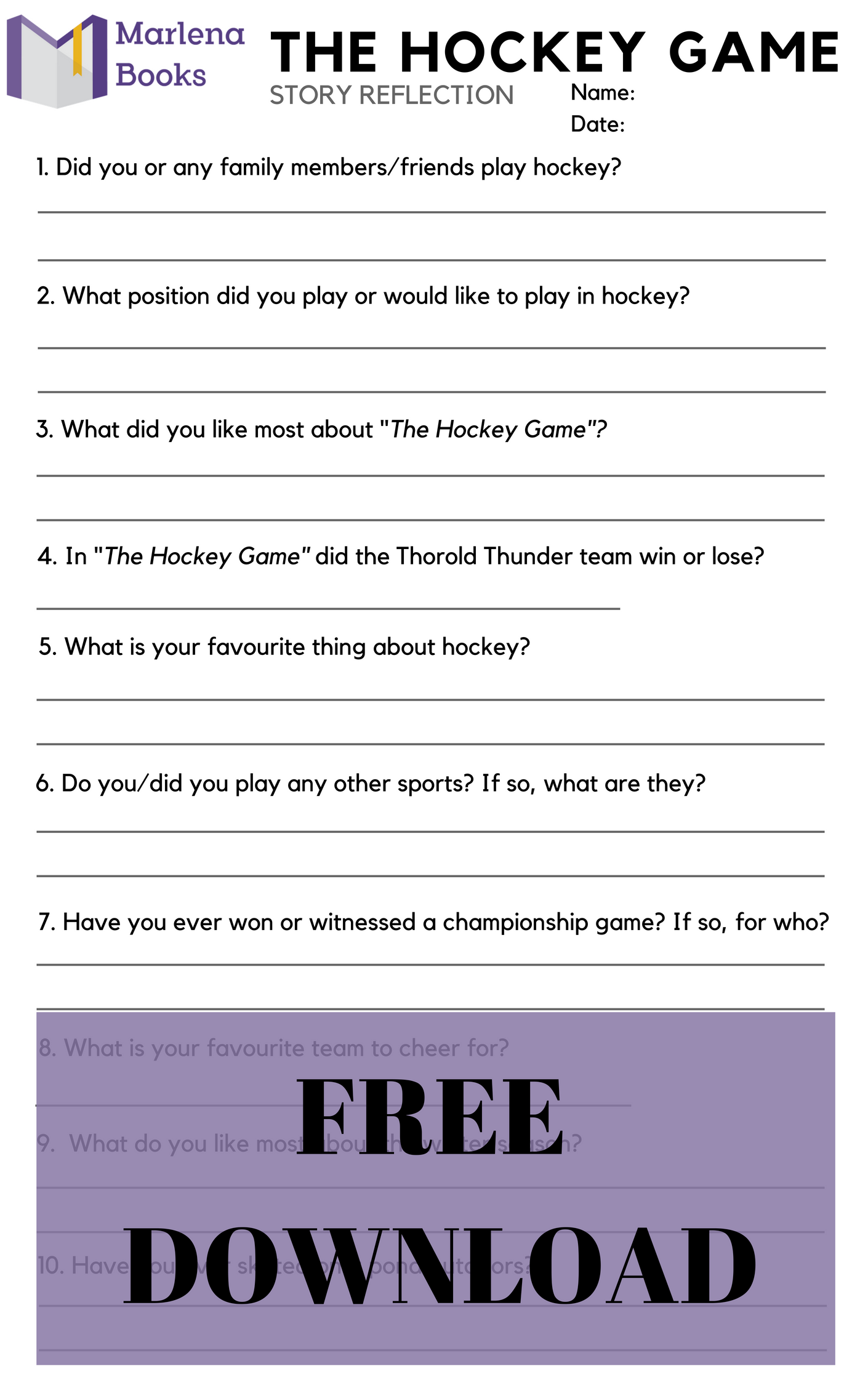 The Hockey Game Story Reflection free download!