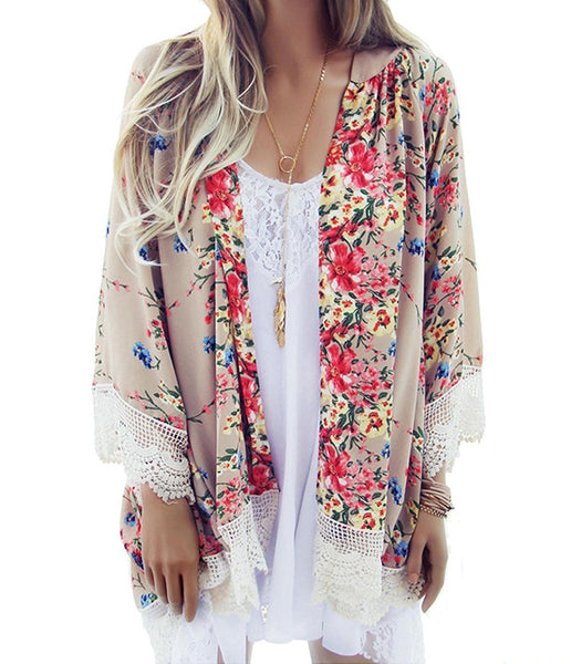 Relipop Women's Sheer Chiffon Blouse Loose Tops Kimono Floral Print Cardigan - Shop The Fox