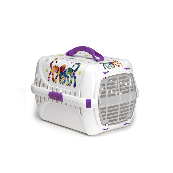 Moderna Trendy Pet Carrier with Plastic Door 'Friends Forever' Blueberry