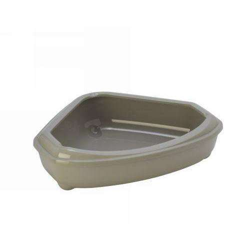 Moderna Corner Litter Tray With Rim 'Grey'