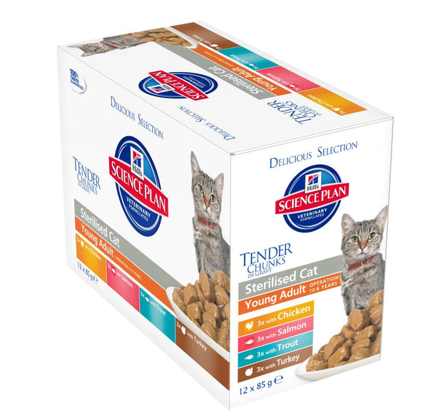 Hill's Feline Young Adult Sterilised Cat Multipack - Pouch 12x85g - 3x Chicken;3x Salmon;3x Trout;3x Turkey