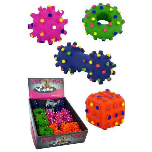 Papillon Latex Assortment Hedgehog circle/ball/dumbbell/dice For Dogs 8cm
